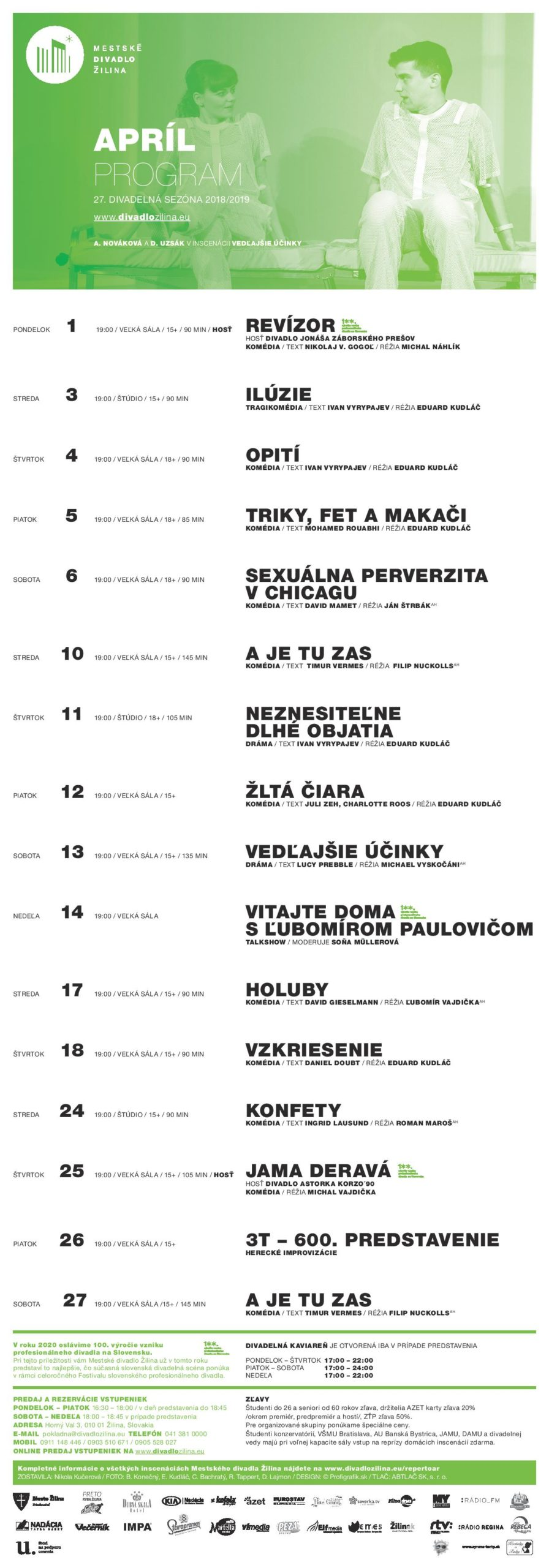 Program divadla Žilina - 04/2019